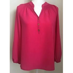 Pink Lilly Pulitzer Long Sleeve Silk Top Size XS
